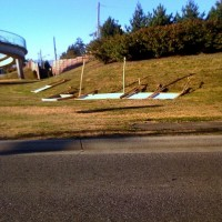 Signs knocked over at Hwy 17 and Ladner Trunk